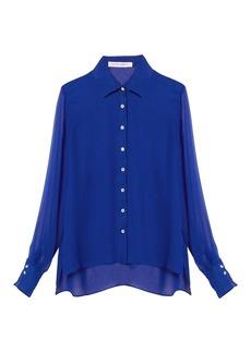 Carolina Herrera Sheer-Sleeve Silk Button Down Shirt