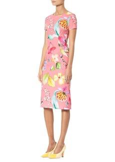 Carolina Herrera Short Sleeve Floral Sheath Dress