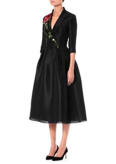 Carolina Herrera Silk Embroidered A-Line Dress