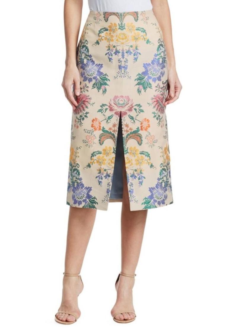 Carolina Herrera Silk Floral Pencil Skirt