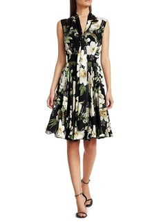 Carolina Herrera Sleeveless Floral Overlay Dress