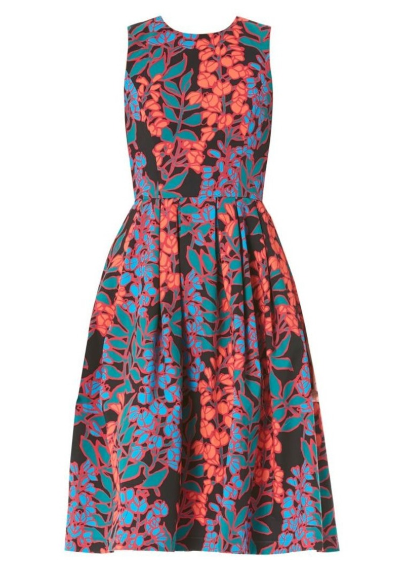 Carolina Herrera Sleeveless Floral Tea Dress