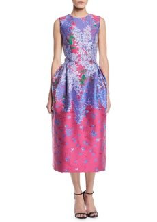 Carolina Herrera Sleeveless Full-Skirt Floral-Brocade Tea-Length Dress