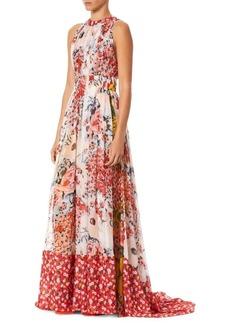 Carolina Herrera Sleeveless Gathered Floral Gown