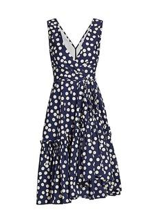 Carolina Herrera Sleeveless Ruffle-Hem Polka Dot Dress