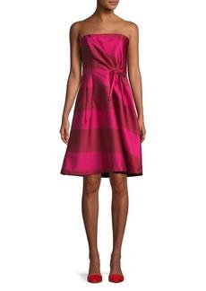 Carolina Herrera Sriped Strapless A-Line Dress