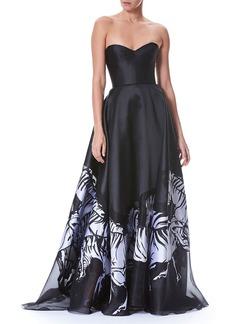 Carolina Herrera Strapless Belted Bustier Zebra-Print Evening Gown