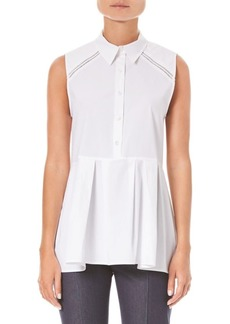 Carolina Herrera Stretch Sleeveless Peplum Shirt