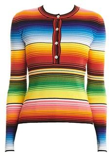 Carolina Herrera Striped Long-Sleeve Henley Shirt
