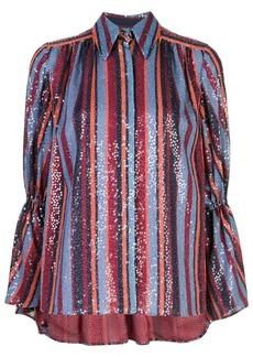 Carolina Herrera striped sequin-embroidery shirt