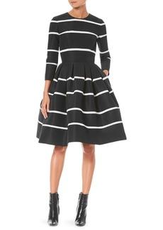 Carolina Herrera Striped Silk Fit-and-Flare Dress