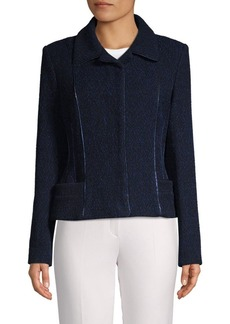 Carolina Herrera Textured Metallic Trim Jacket
