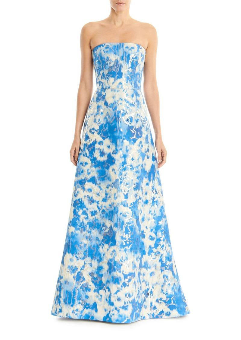 Carolina Herrera Tie Dye Metallic Strapless A-Line Gown