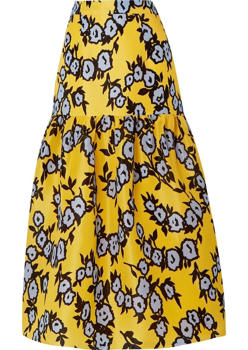 Carolina Herrera Tiered Floral-print Silk-organza Midi Skirt