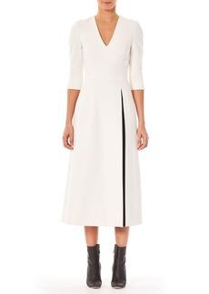 Carolina Herrera V-Neck 3/4-Sleeve A-Line Midi Day Dress w/ Contrast Slit Detail