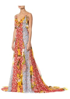 Carolina Herrera V-Neck Patchwork Floral Ruffle Gown