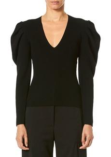 Carolina Herrera V-Neck Puff-Sleeve Fitted Knit Pullover Sweater