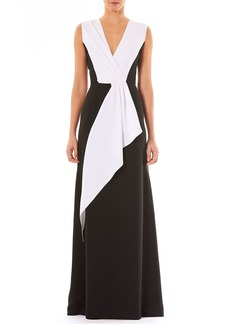 Carolina Herrera V-Neck Sleeveless Draped Silk Evening Gown