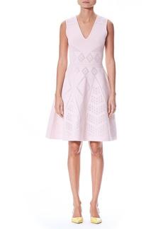 Carolina Herrera V-Neck Sleeveless Pointelle Knit Fit-and-Flare Dress