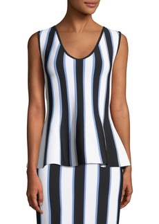 Carolina Herrera V-Neck Sleeveless Striped Knit Peplum Top