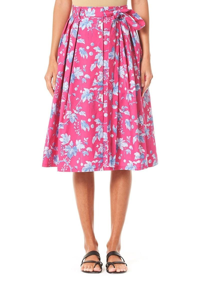 Carolina Herrera Vine-Leaf-Print Belted Skirt