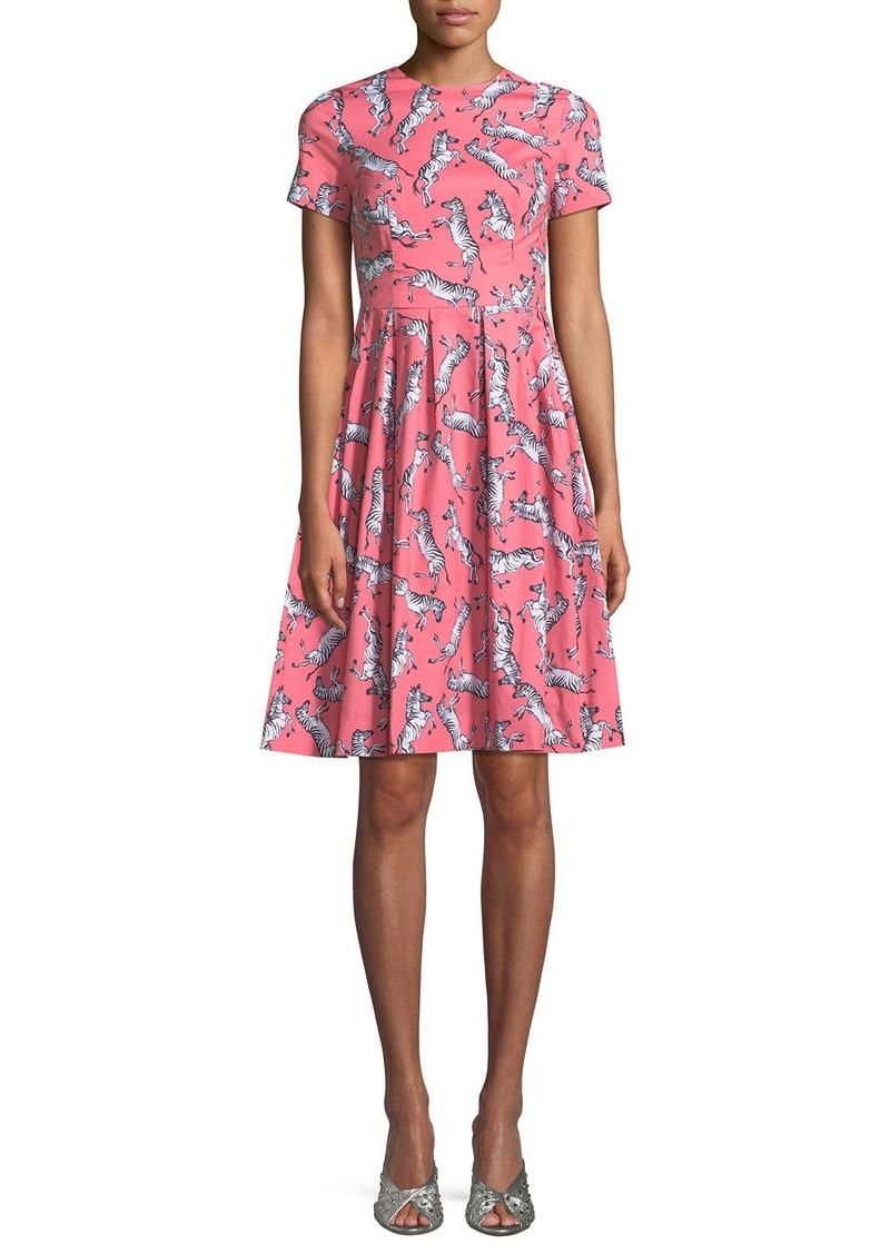 Carolina Herrera Zebra-Print Short-Sleeve Party Dress   Dresses ...