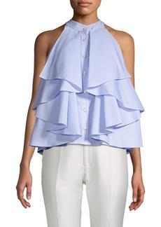Caroline Constas Adrie Ruffled Cotton Blouse