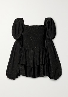 Caroline Constas Alexa Smocked Metallic Fil Coupé Georgette Mini Dress
