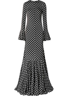 Caroline Constas Allonia Fluted Polka-dot Silk-blend Satin Gown