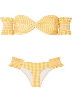 Caroline Constas Andros Off-the-shoulder Shirred Gingham Bikini