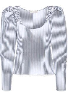 Caroline Constas Ariana Ruched Striped Cotton-poplin Top
