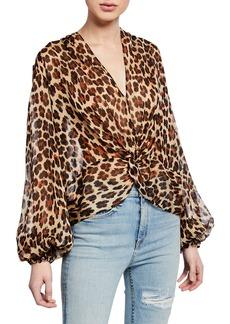 Caroline Constas Bette Leopard-Print Twist-Front Blouson-Sleeve Top