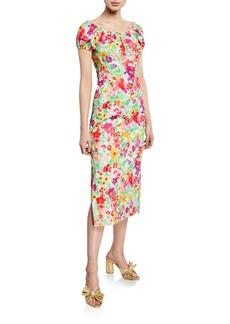 Caroline Constas Calia Floral-Print Short-Sleeve Midi Dress