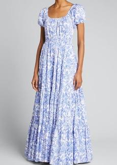 Caroline Constas Bardot Printed Maxi Dress