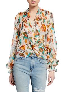 Caroline Constas Bette Printed Twist-Front Blouson-Sleeve Silk Blouse
