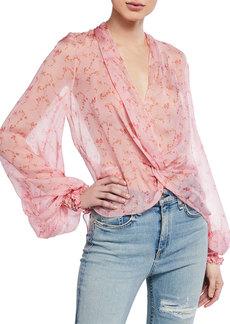 Caroline Constas Bette Twist-Front Blouson-Sleeve High-Low Blouse