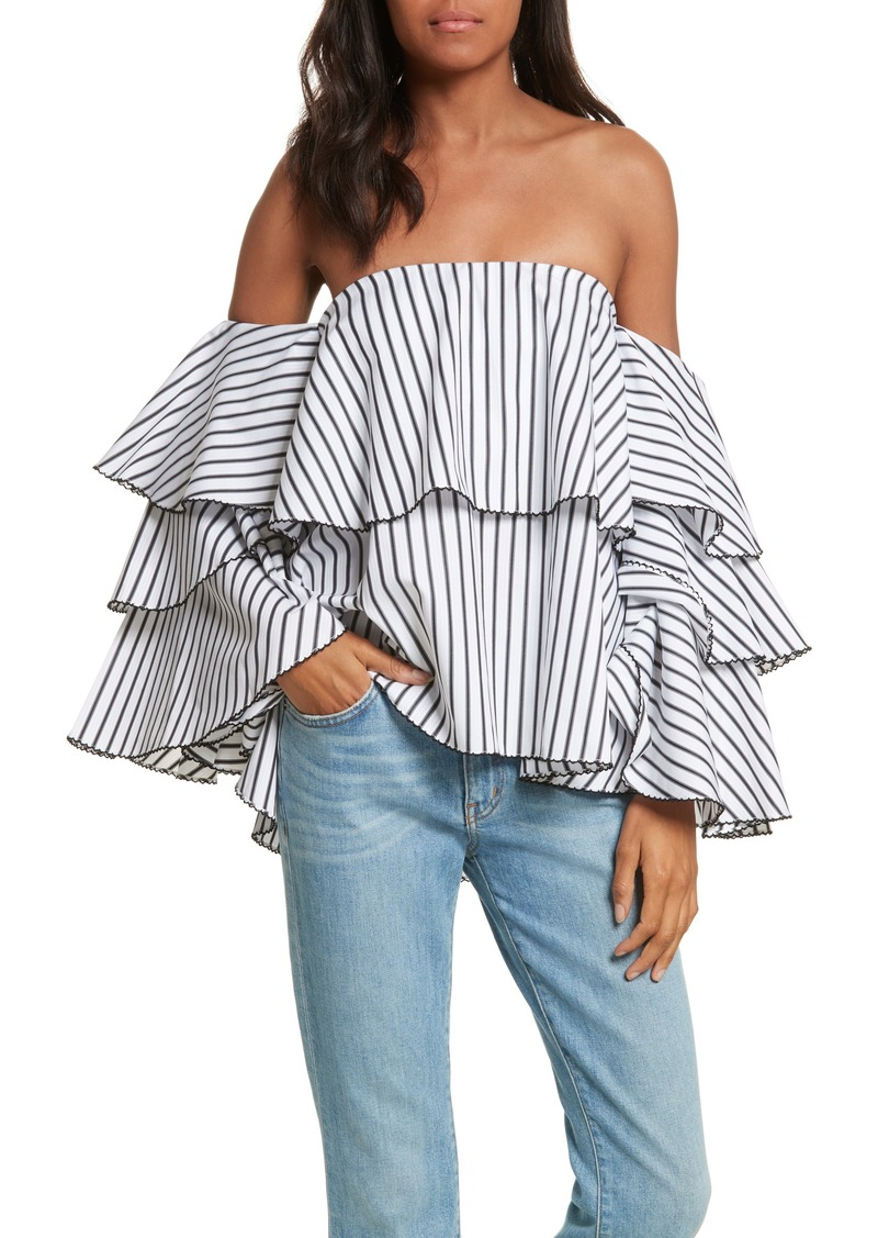 Caroline Constas Carmen Ruffle Off the Shoulder Top