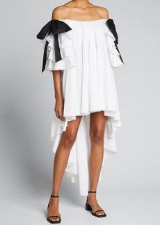 Caroline Constas Fiona Off-Shoulder High-Low Dress with Bows