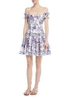 Caroline Constas Maria Off-the-Shoulder Fit-and--Flare Floral-Print Poplin Dress