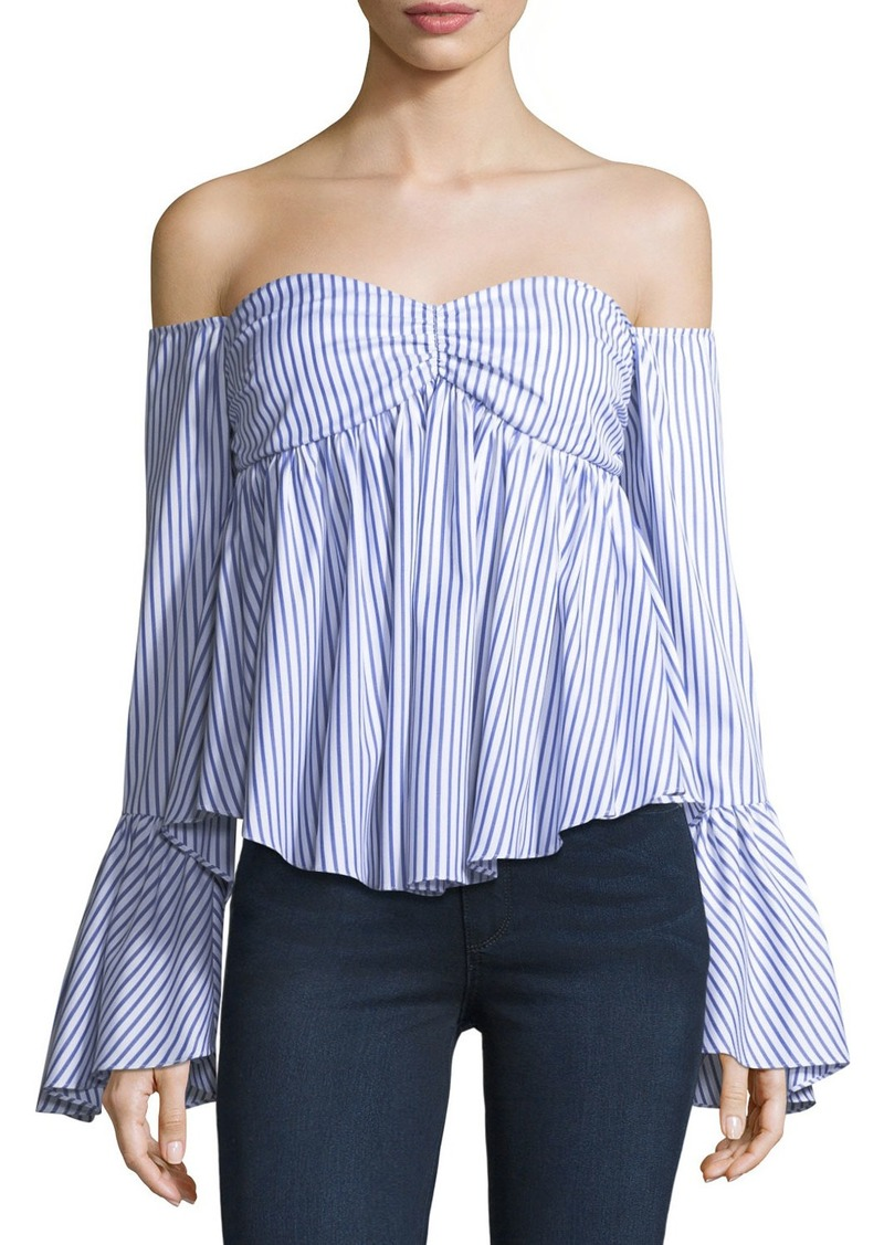 8a9052de71f4db Caroline Constas Max Off-the-Shoulder Bell-Sleeve Striped Poplin Top ...
