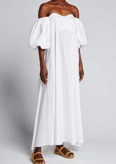 Caroline Constas Palmer Off-Shoulder Puff-Sleeve Maxi Dress