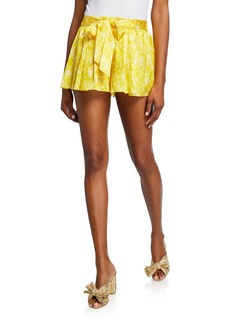 Caroline Constas Printed Tie-Front Stretch-Silk Pleated Shorts