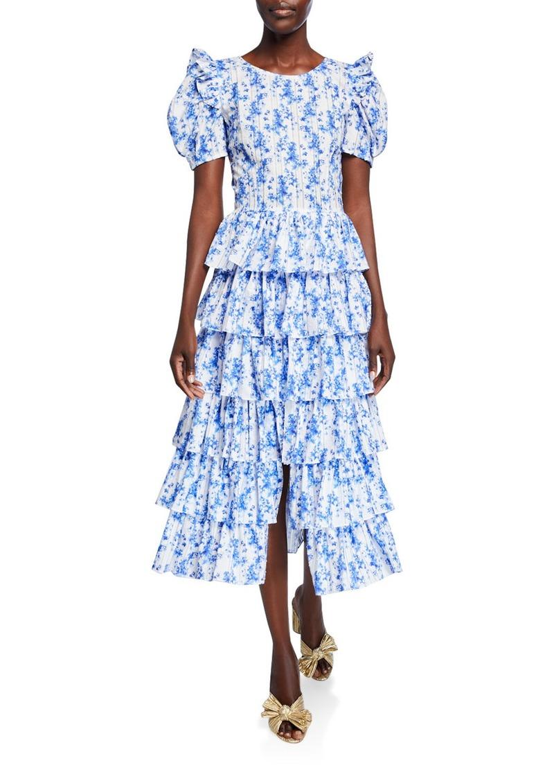 Caroline Constas Rose Tiered Floral-Print Cotton Midi Dress