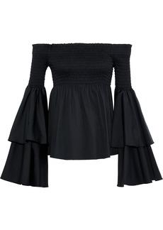 Caroline Constas Woman Appolonia Off-the-shoulder Shirred Cotton-blend Poplin Blouse Black