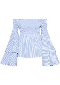 Caroline Constas Woman Appolonia Off-the-shoulder Striped Cotton-poplin Top Light Blue