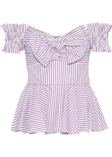 Caroline Constas Woman Artemis Off-the-shoulder Bow-embellished Striped Cotton Top Violet