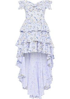 Caroline Constas Woman Artemis Off-the-shoulder Tiered Printed Cotton-blend Poplin Dress White