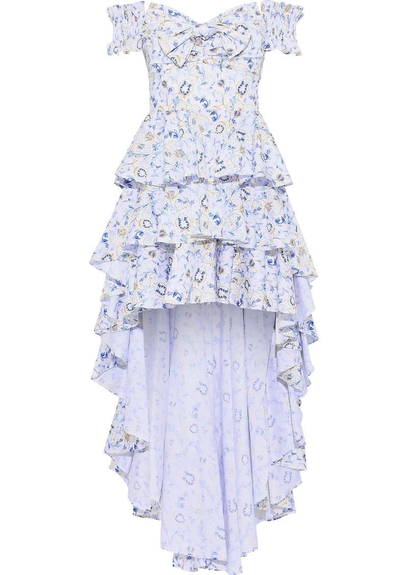 Caroline Constas Woman Artemis Off-the-shoulder Tiered Printed Cotton-blend Poplin Dress White