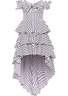 Caroline Constas Woman Artemis Off-the-shoulder Tiered Striped Cotton-blend Poplin Dress White