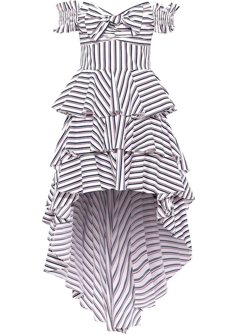 Caroline Constas Woman Artemis Off-the-shoulder Tiered Striped Cotton-blend Poplin Dress White
